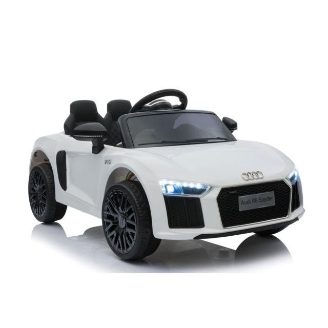 Beneo Voiture électrique Audi R8 Small, blanc, sous licence d'orig