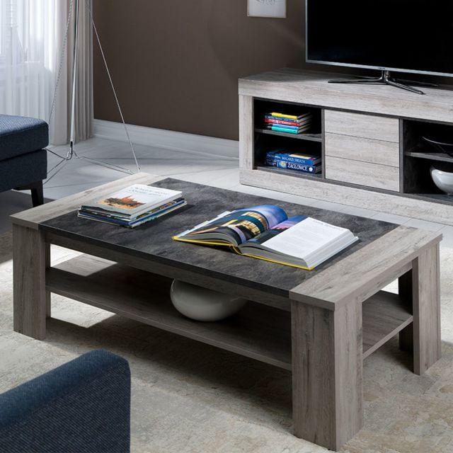 Kasalinea Table de salon contemporaine 130 cm couleur bois gris Duncan