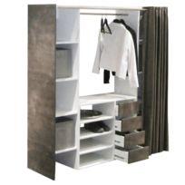 Inside 75 - Dressing extensible Chica 2 colonnes 4 tiroirs blanc / béton avec rideau anthracite