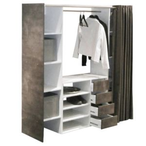inside 75 dressing extensible chica 2 colonnes 4 tiroirs blanc b ton avec rideau anthracite. Black Bedroom Furniture Sets. Home Design Ideas