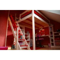 Abc Meubles - Lit Mezzanine Sylvia avec escalier de meunier pin massif