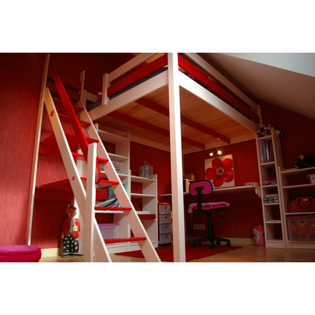 abc meubles lit mezzanine sylvia avec escalier de meunier pin massif blanc rouge 120cm x. Black Bedroom Furniture Sets. Home Design Ideas