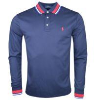 a50fc26b29d17 Ralph Lauren - Polo manches longues bleu marine logo rouge en jersey slim  fit pour homme