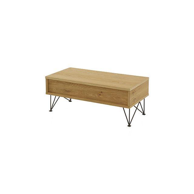 Table basse relevable avec rangement intégré en Mdf et métal - Gladys