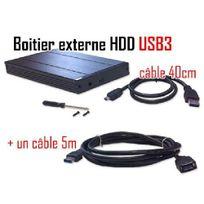 Cabling - Pack boîtier externe pour disque dur Sata 2.5 + câble Usb3 M/F 5 mètres