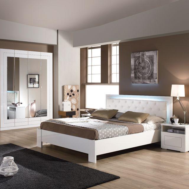Nouvomeuble Chambre à coucher complète blanche design Alvara