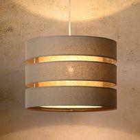 Lucide - Suspension double cylindre en lin ajouré diamètre 35cm Tonio - Taupe