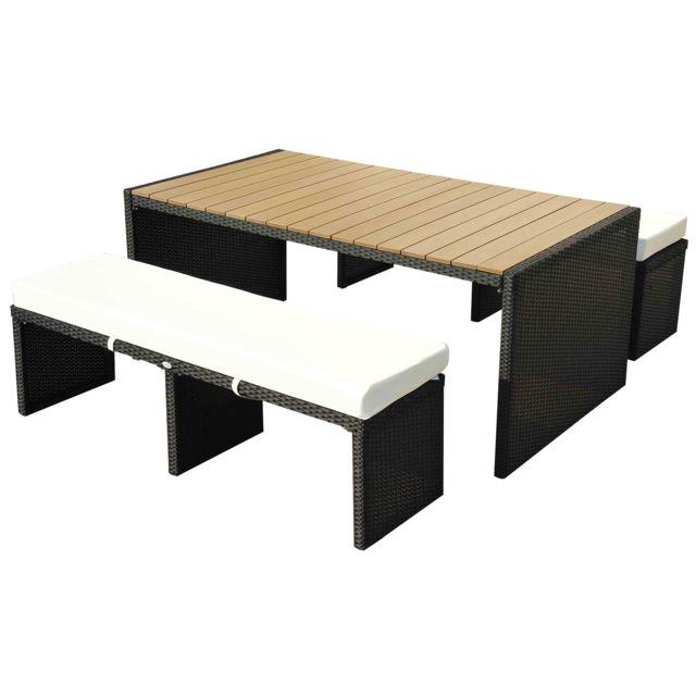 Homcom - Ensemble Table De Bar 180CM Avec 2 Bancs Plateau ...