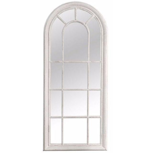 Comforium Miroir décoratif 140 cm en bois et verre coloris blanc