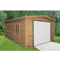 - Garage en pin massif 3,98x5,6m + avancée de 60cm - Murava