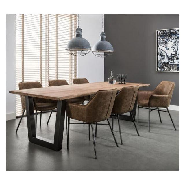 Mathi Design Massive - Table repas bois/acier 240 cm