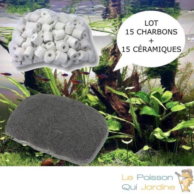 Aqua Occaz Lot de 15 charbons actifs et 15 anneaux en céramique pour filtration aquarium et bassin de jardin