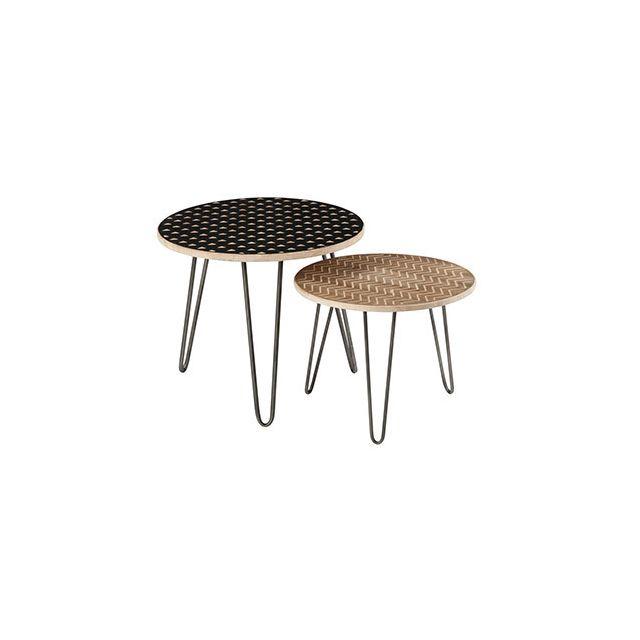 Set de 2 tables gigognes avec motifs en bois et métal