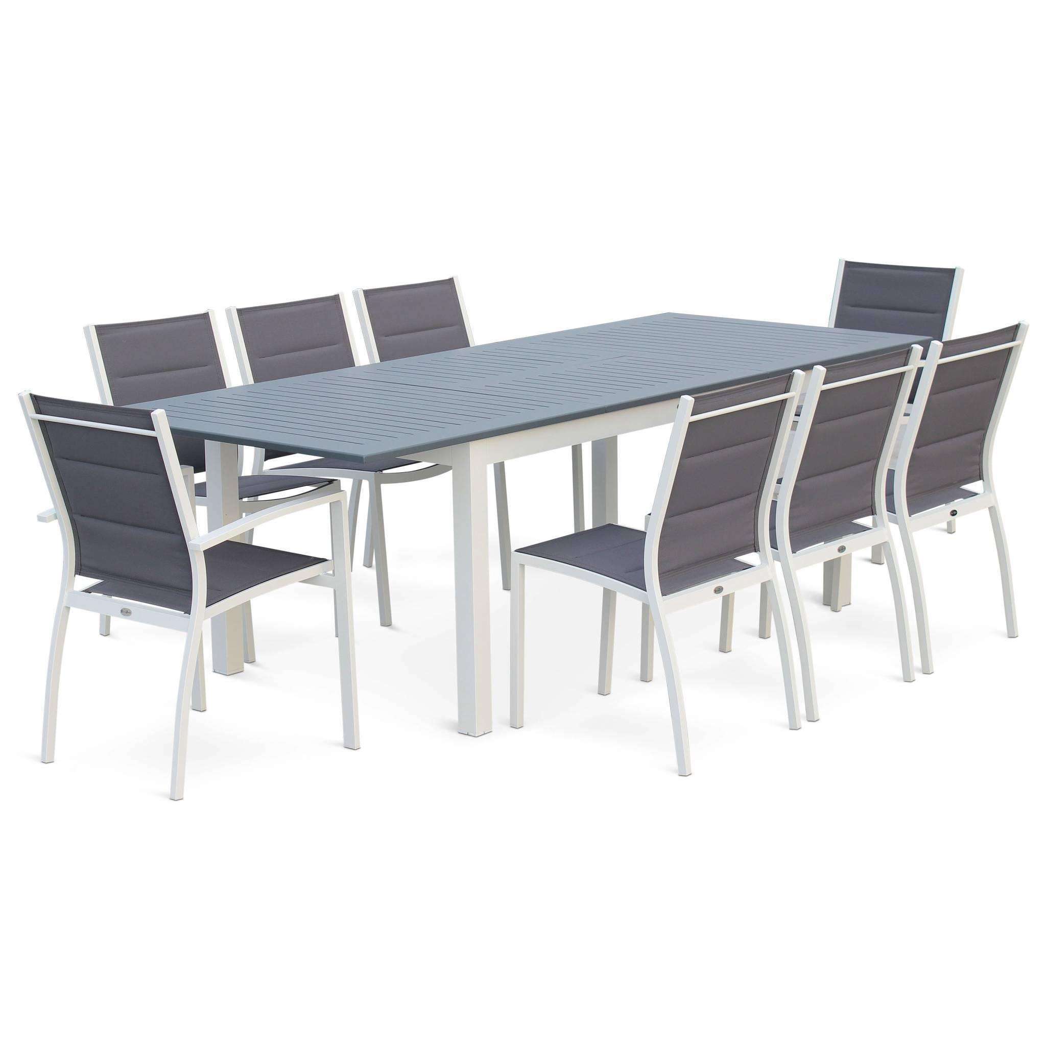 Salon de jardin 8 places Chicago - Table à rallonge extensible 175/245cm alu blanc textilène gris bleuté