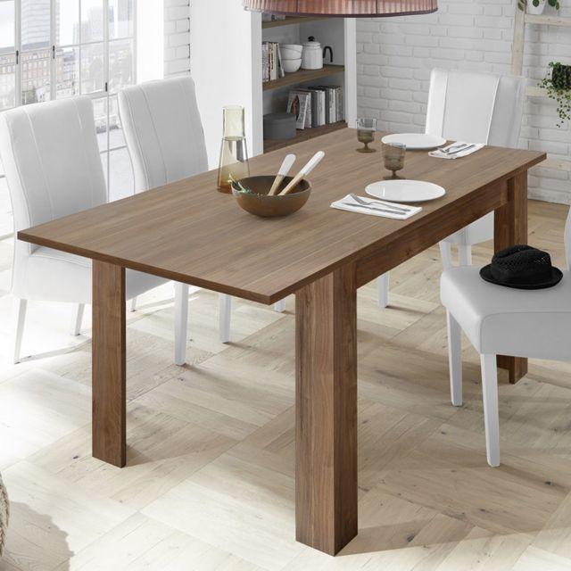 Kasalinea Table 180 avec rallonge contemporaine couleur noyer Mabel 4