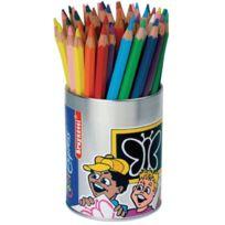 Fibracolor - crayons de couleur gros module coloris assortis - pot de 48