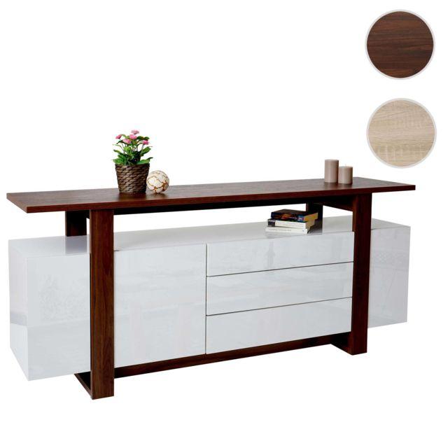 Mendler Commode Hwc-b51, bahut, buffet bas, armoire à tiroirs, structure 3D, aspect noix, poli fin 80x180x45cm