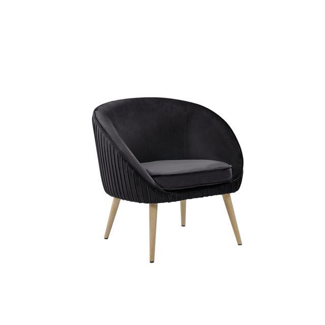 BELIANI Fauteuil design en velours noir TROMSO