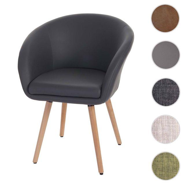 Mendler Chaise de salle à manger Malmö T633, fauteuil, design rétro des années 50 ~ similicuir, gris