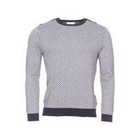 Harris Wilson - Pull col rond Dalmiro en coton gris chiné à motifs ronds et traits bleu marine