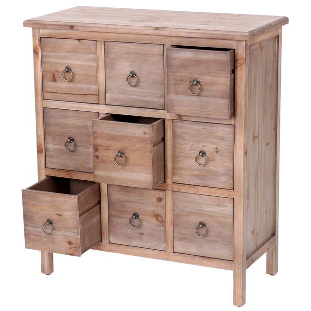 Mendler Commode Venise, placard à tiroirs, 9 tiroirs, vintage, sapin massif, marron 85x75x35cm