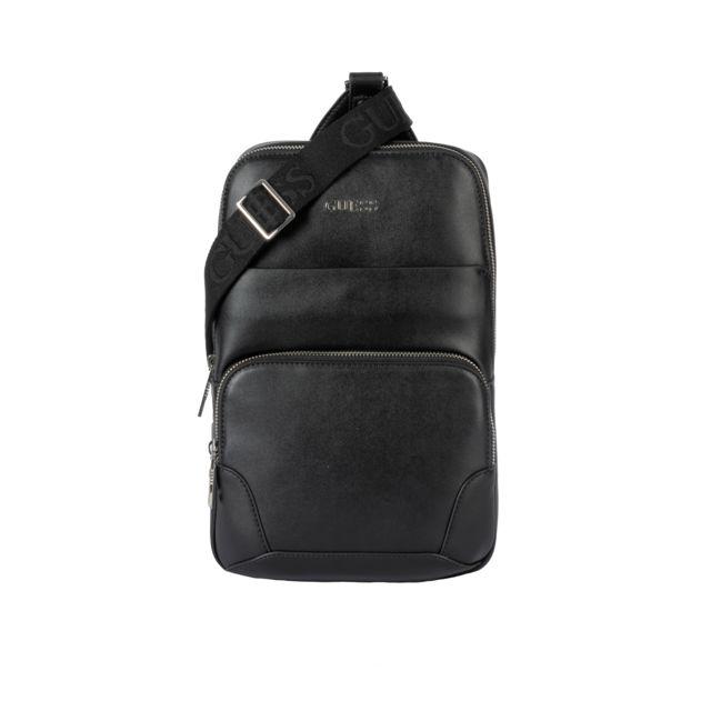 ramasser 69673 4ea9f Sacoche noire en bandoulière effet sac à dos
