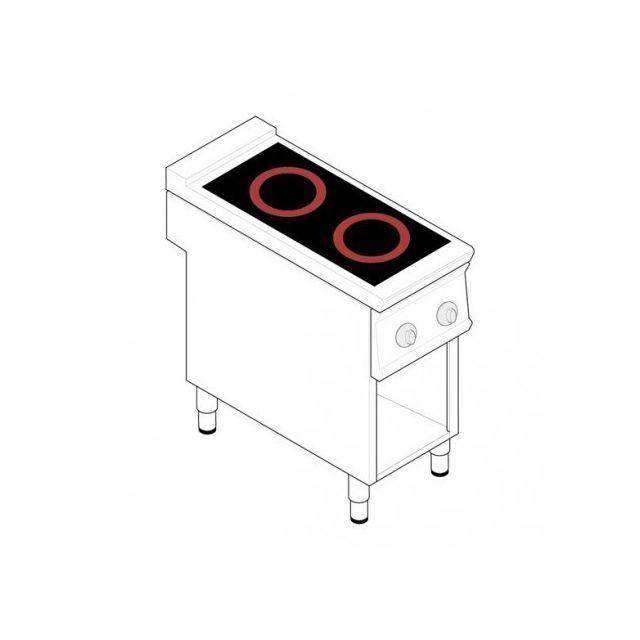 Materiel Chr Pro Fourneau sur meuble électrique - 2 plaques vitrocéramiques 6,8 kW - gamme 900 - Tecnoinox - 900