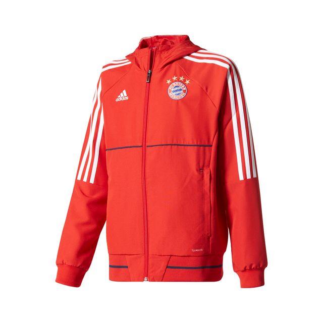Adidas performance veste pr sentation bayern munich rouge junior pas cher achat vente - Coupe vent adidas junior ...