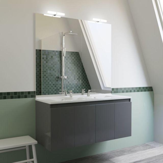 Creazur meuble salle de bain double vasque proline 120 gris brillant pas cher achat - Meuble salle de bain rue du commerce ...