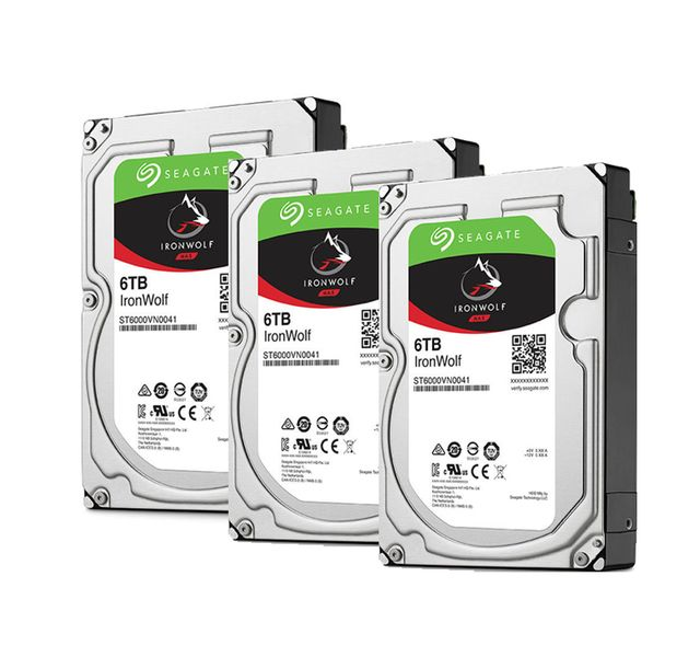 SEAGATE Lot de 3 disques durs interne ironwolf 6 to 3.5 '' 7200 rpm 128 mo serial ata 6 gb/s pour na