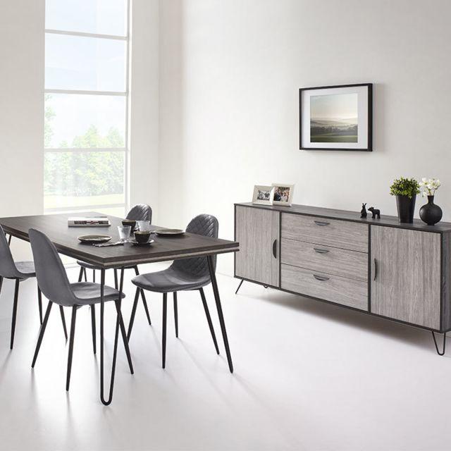 Nouvomeuble Salle à manger moderne couleur bois gris Santori