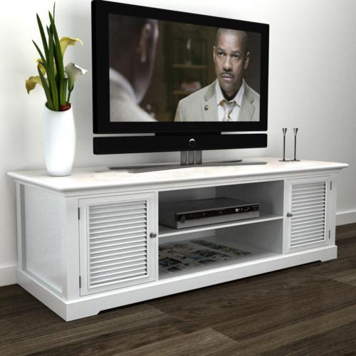 rocambolesk superbe meuble tv blanc en bois neuf pas cher achat vente meubles tv hi fi. Black Bedroom Furniture Sets. Home Design Ideas