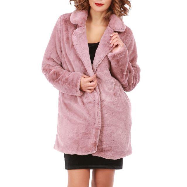 Lamodeuse Manteau rose en fourrure synthétique pas cher