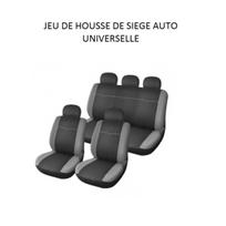 Peraline - Housse de sieges voiture noir / grise universelle 9 pieces