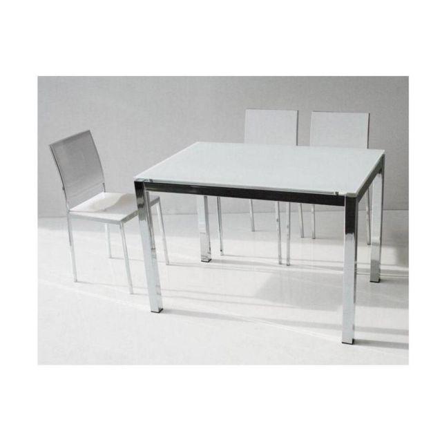 Inside 75 Table repas extensible Majestic 130 x 80 cm en verre blanc et aluminium chrome
