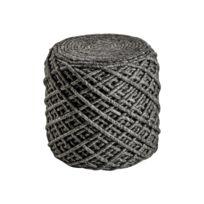 Deladeco - Pouf en laine et viscose et intérieur polystyrène graphite Royal