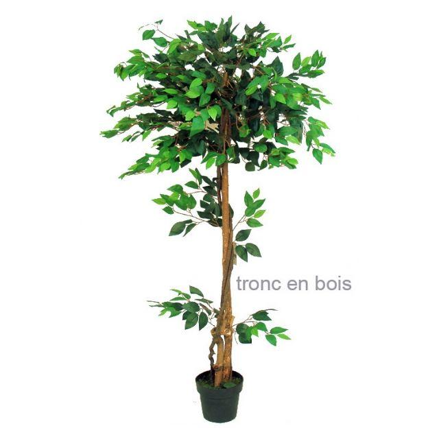 No Name - Plante artificielle - Ficus vert uni hauteur 160cm pour 756 feuilles - Tige en bois véritable