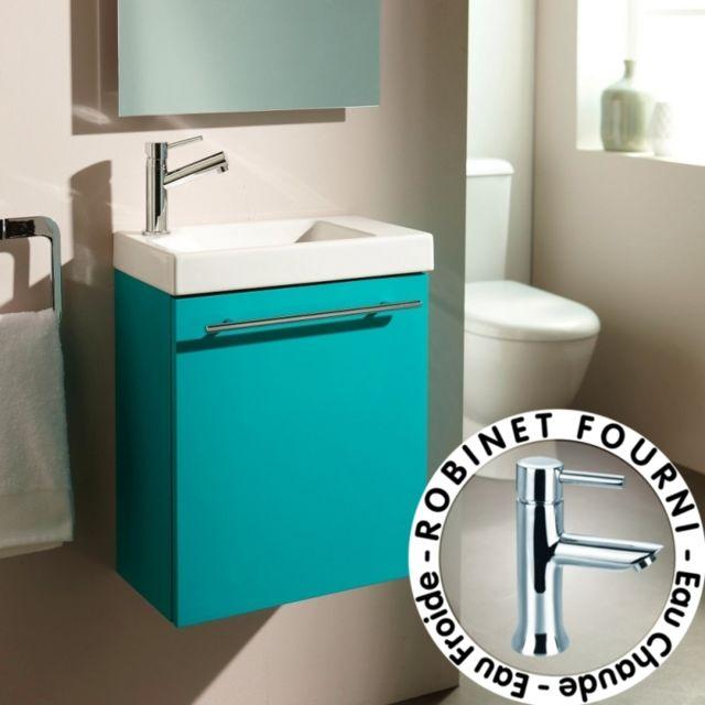 planetebain lave mains complet pour wc avec meuble couleur vert lagon mitigeur eau chaude. Black Bedroom Furniture Sets. Home Design Ideas