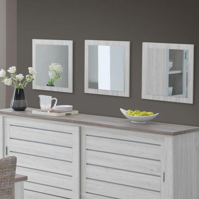 Nouvomeuble Miroir carré contemporain couleur chêne clair Elana