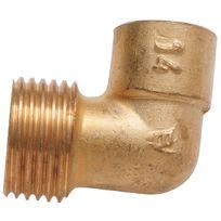 Raccords - Coude laiton mâle - Filetage 15 x 21 mm - Diam. 16 mm - Par 1