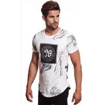 Beststyle - T-shirt homme mi long blanc