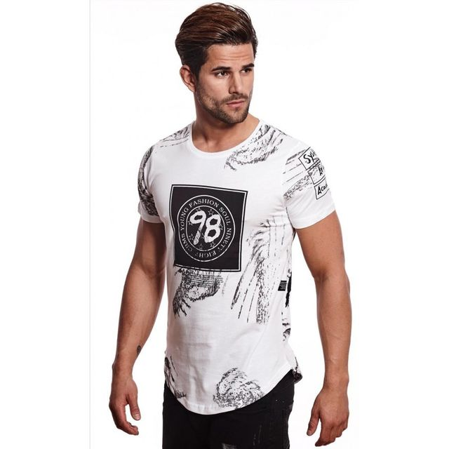 568bb500462a1 Beststyle - T-shirt homme mi long blanc - pas cher Achat / Vente Tee ...