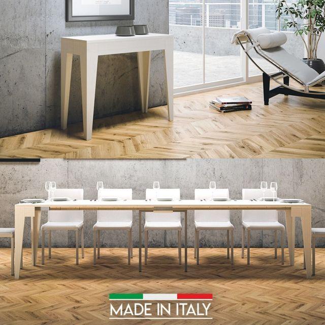 Meubler Design Table Console extensible Isotta Bois - Frêne blanc, Nombre d'extensions - 5 Rallonges