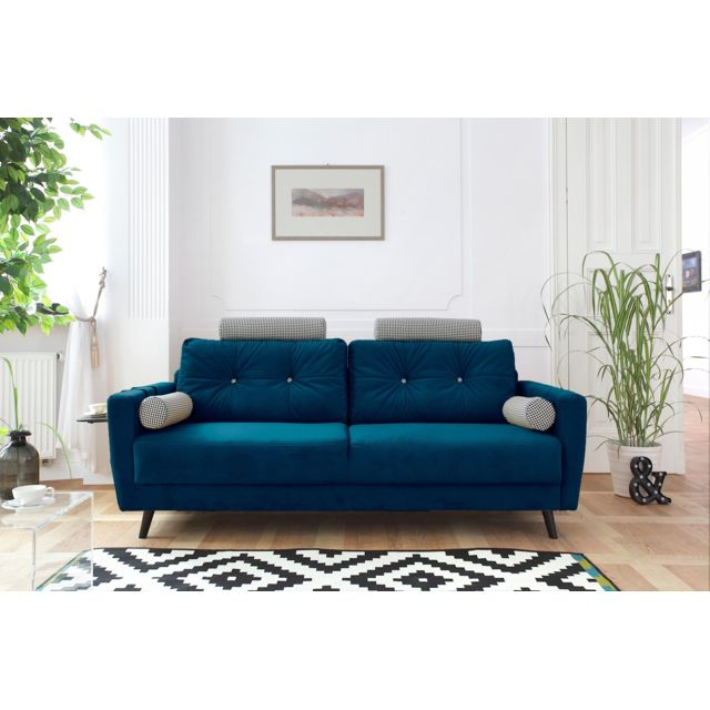 bobochic scandi edition limit e canap fixe 3 places bleu canard achat vente canap s. Black Bedroom Furniture Sets. Home Design Ideas