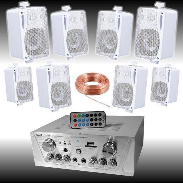 Ibiza Sound Pack sono maison magasin ampli - 8 enceintes facile a installer