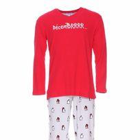 """Arthur - Pyjama long : Tee-shirt manches longues rouge à impression """"Decembrrrr"""" et pantalon gris à motifs pingouins"""