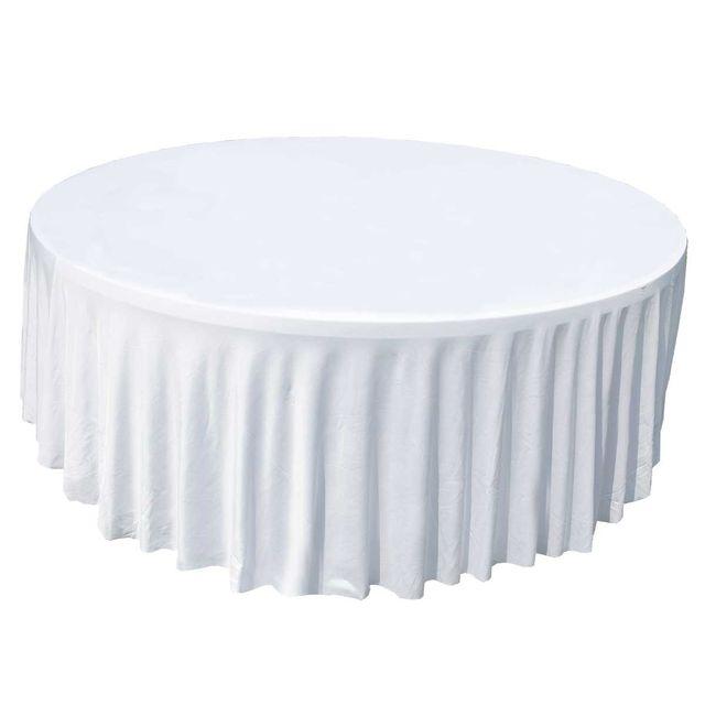 mobeventpro nappe housse lastique pour table ronde 150cm blanche pas cher achat vente. Black Bedroom Furniture Sets. Home Design Ideas