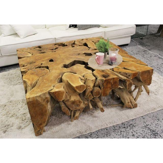 Meubletmoi Table basse carré 80 cm en racine de teck- Teak 03