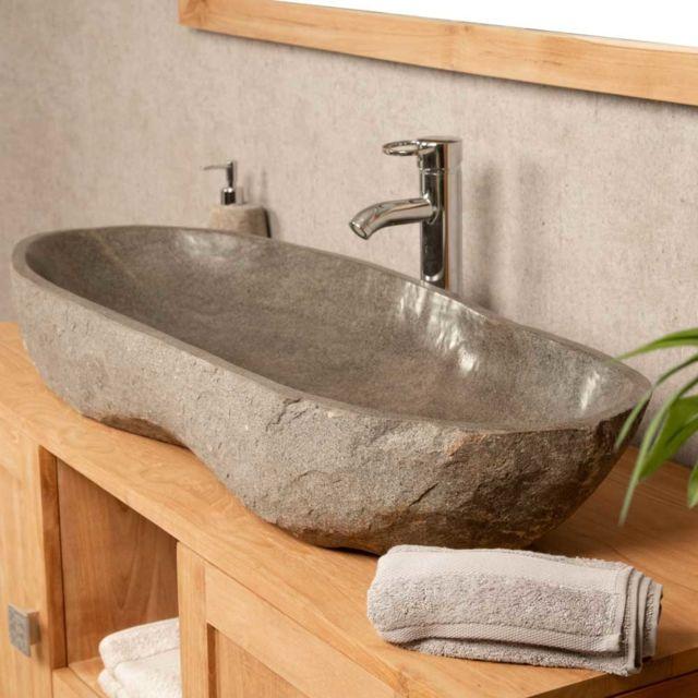 vasque en pierre pas cher Wanda Collection - Grande Vasque en pierre de rivière 100