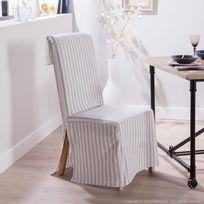 Comptoir Des Toiles - Housse de chaise polycoton rabat dossier large rayure gris Daphnee